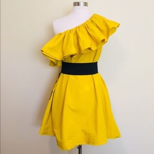 Lanvin for H&M Yellow One-Shoulder Dress NWT SZ 8